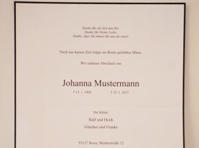 Trauerpapiere - Bestattungen Spannuth Bonn